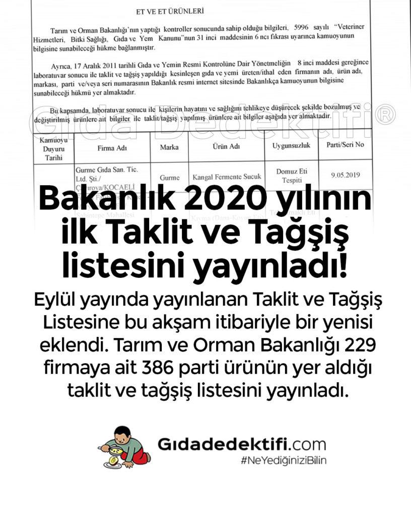 2020 Yilinin Ilk Taklit Ve Tagsis Listesi Yayinlandi Gida Dedektifi